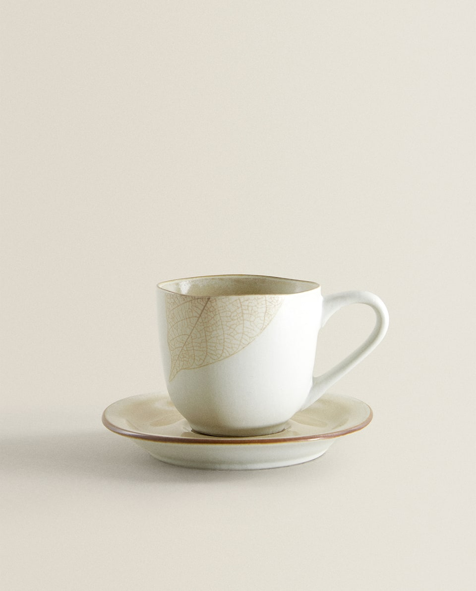 LEAF MOTIF CUP AND SAUCER