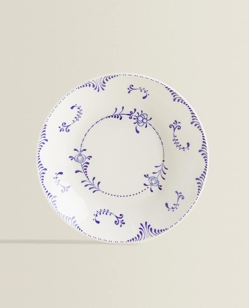 SOUP PLATE WITH BLUE MOTIFS