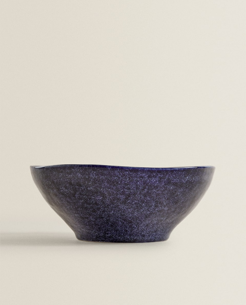 DARK STONEWARE SALAD BOWL