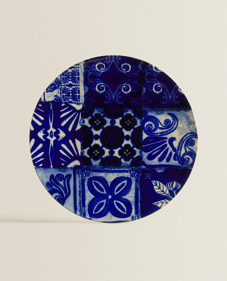TILE-INSPIRED ROUND SERVING DISH
