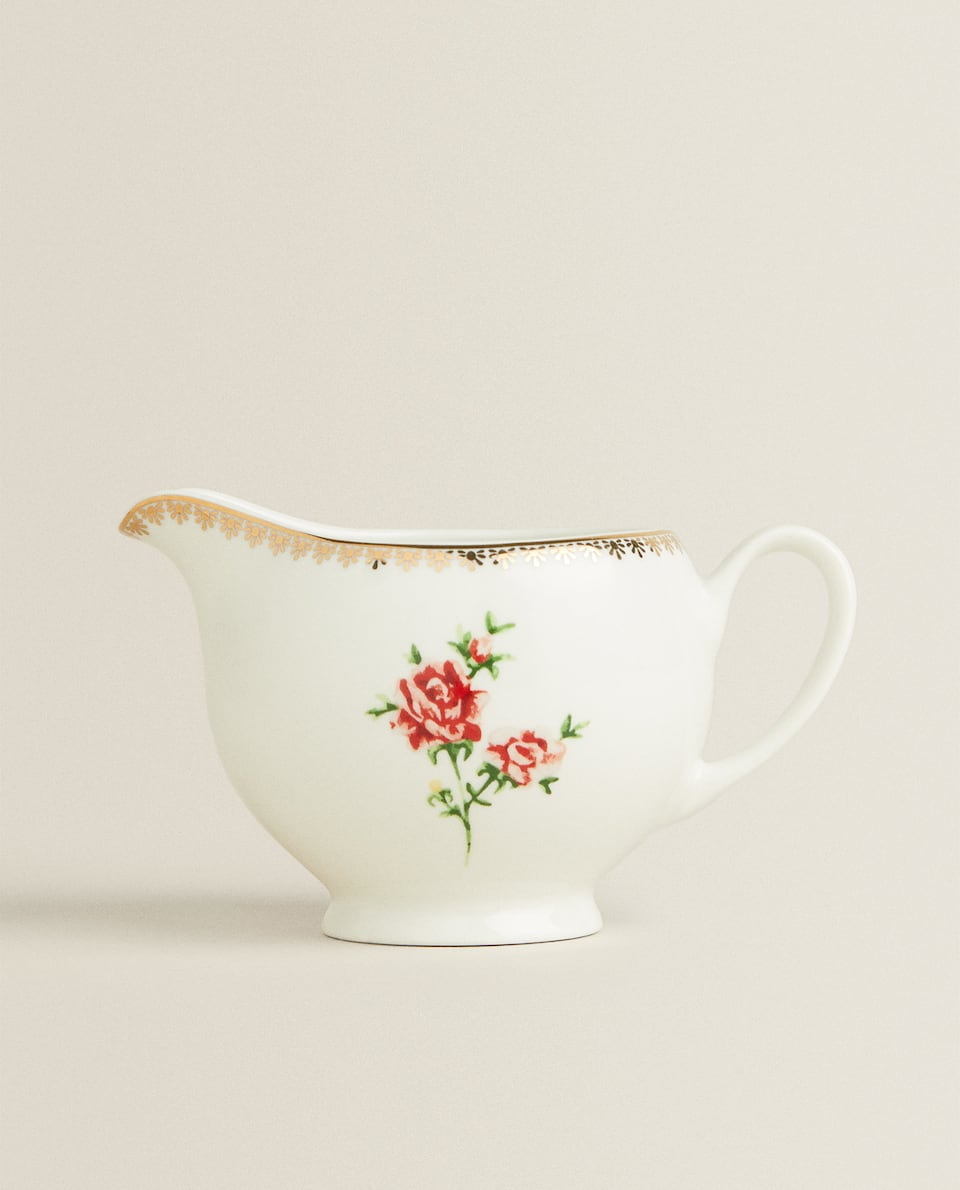 FLORAL MILK JUG WITH GOLD RIM