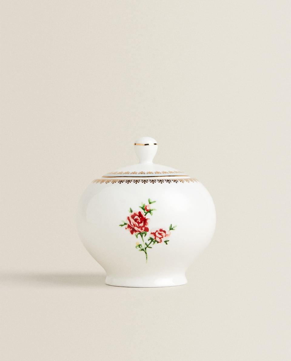 FLORAL SUGAR BOWL WITH GOLD RIM