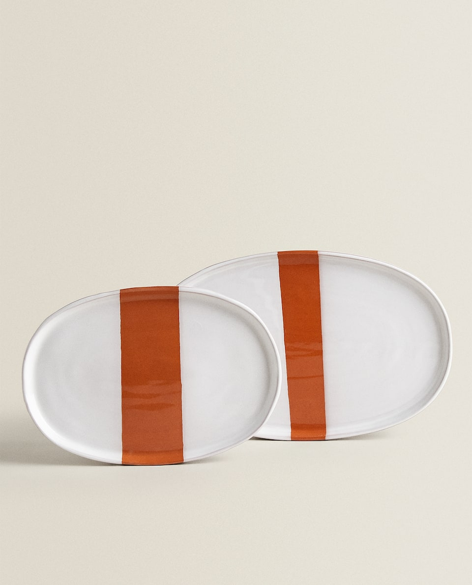 TWO-TONE TERRACOTTA SERVING DISH