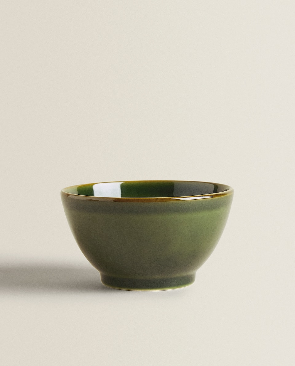 GREEN EARTHENWARE BOWL
