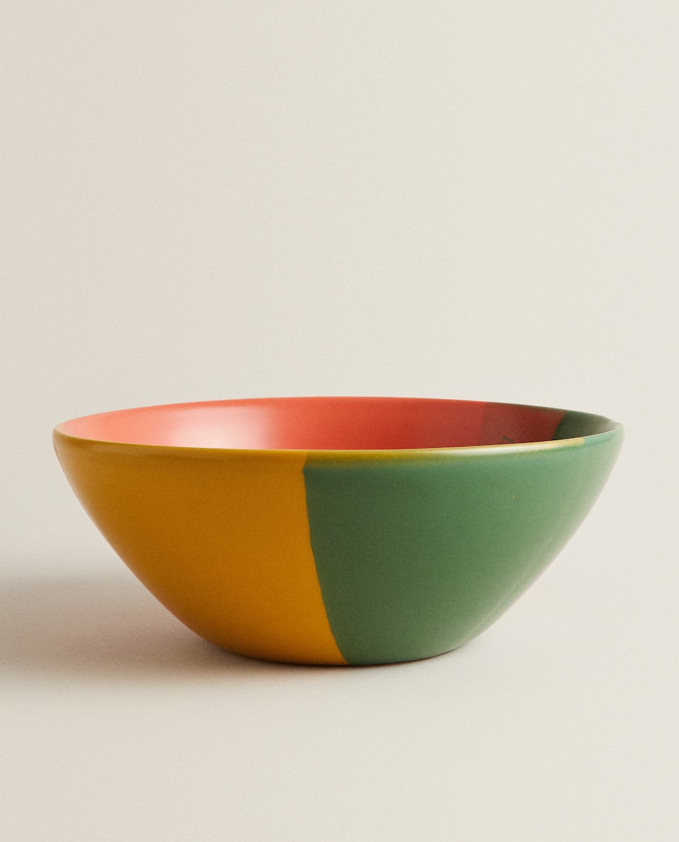 MULTICOLOURED STONEWARE SALAD BOWL