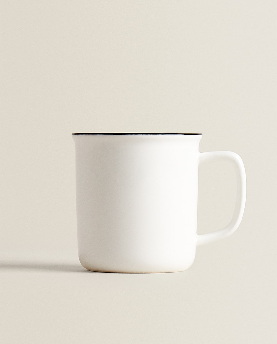 TIN-EFFECT PORCELAIN MUG