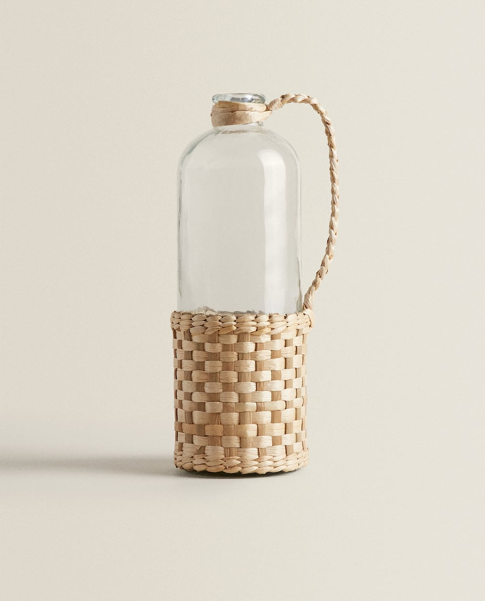 LARGE WOVEN FIBRE DETAIL BOTTLE