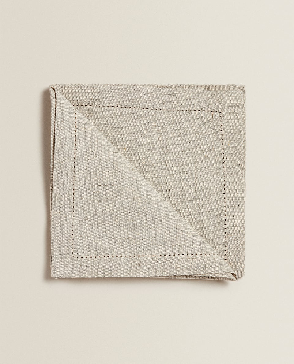 LINEN NAPKINS WITH LACE TRIM (PACK OF 4)