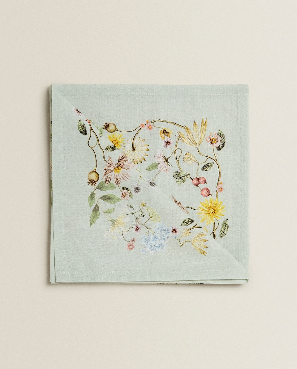 SERVIETTES DE TABLE IMPRIMÉ FLEURS (LOT DE 2)