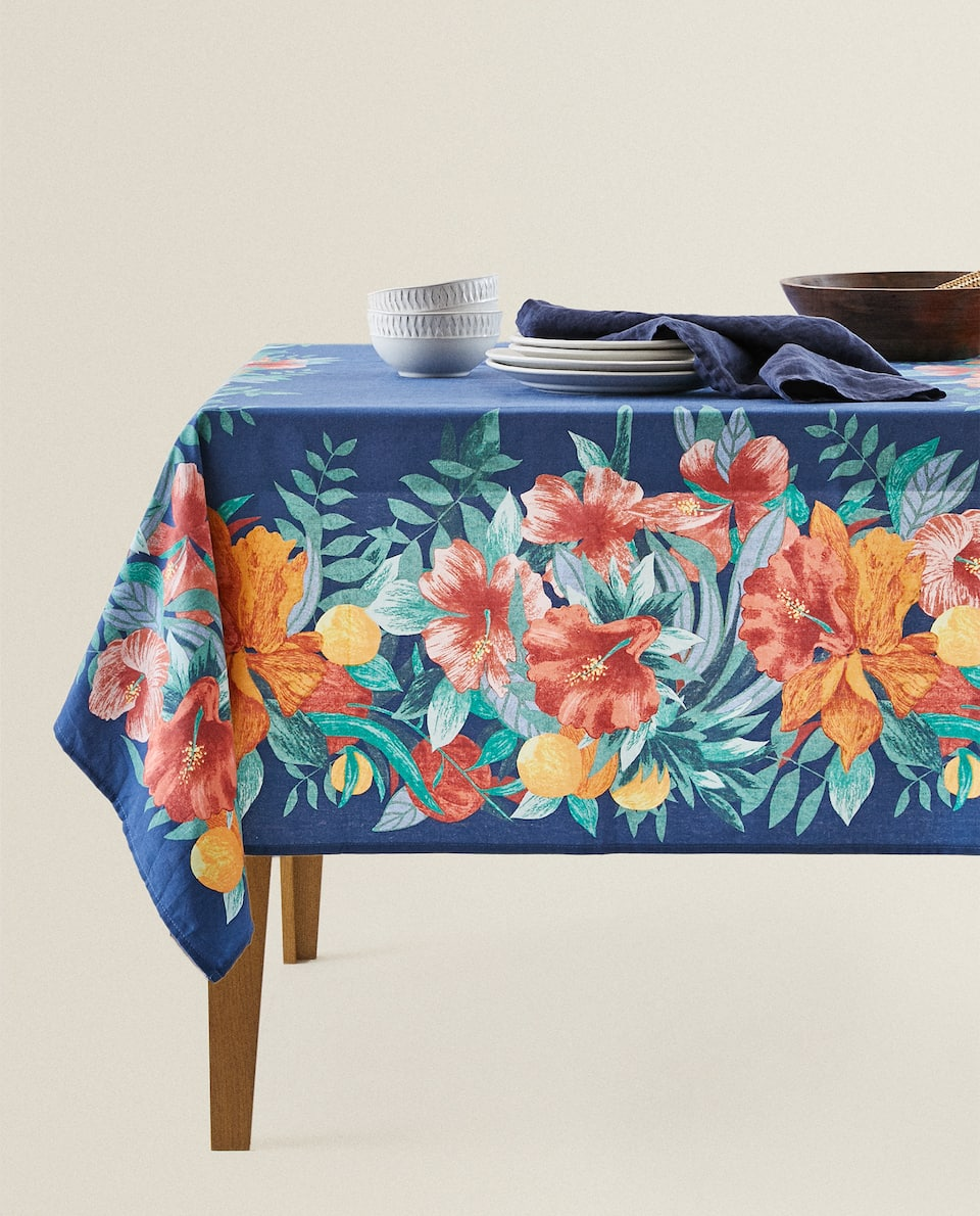 COTTON TABLECLOTH WITH TROPICAL PRINT