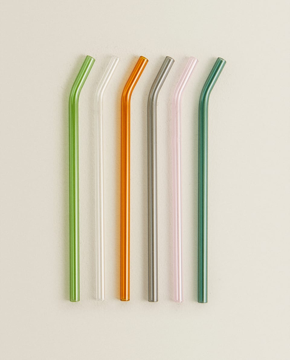 SET OF BOROSILICATE GLASS STRAWS