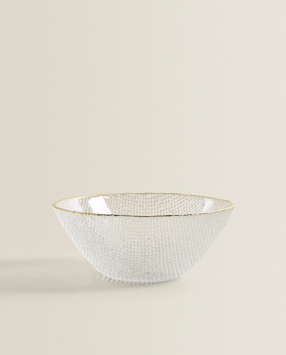 GLASS BOWL WITH RAISED TEXTURE