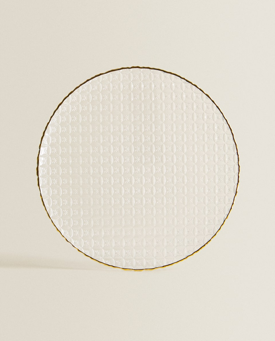 RAISED-DESIGN GLASS CHARGER PLATE