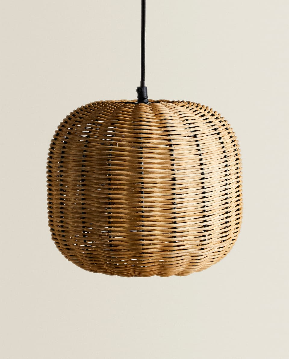 RATTAN AND METAL CEILING LAMP