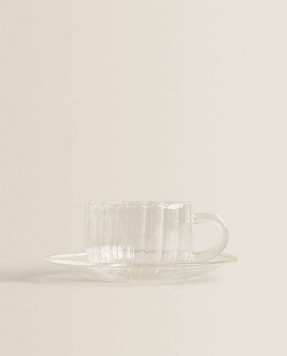 BOROSILICATE GLASS TEACUP AND SAUCER
