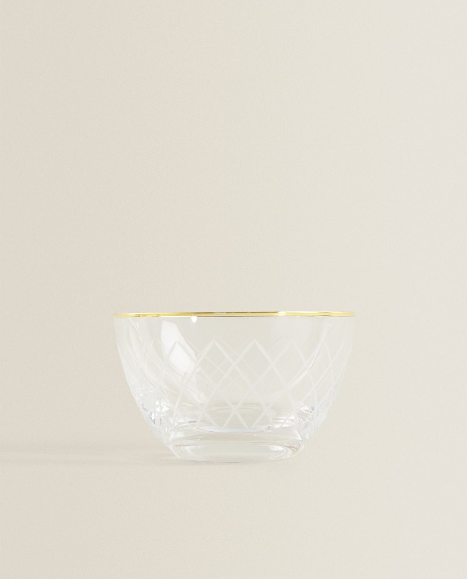 GOLD-RIMMED CUT GLASS BOWL