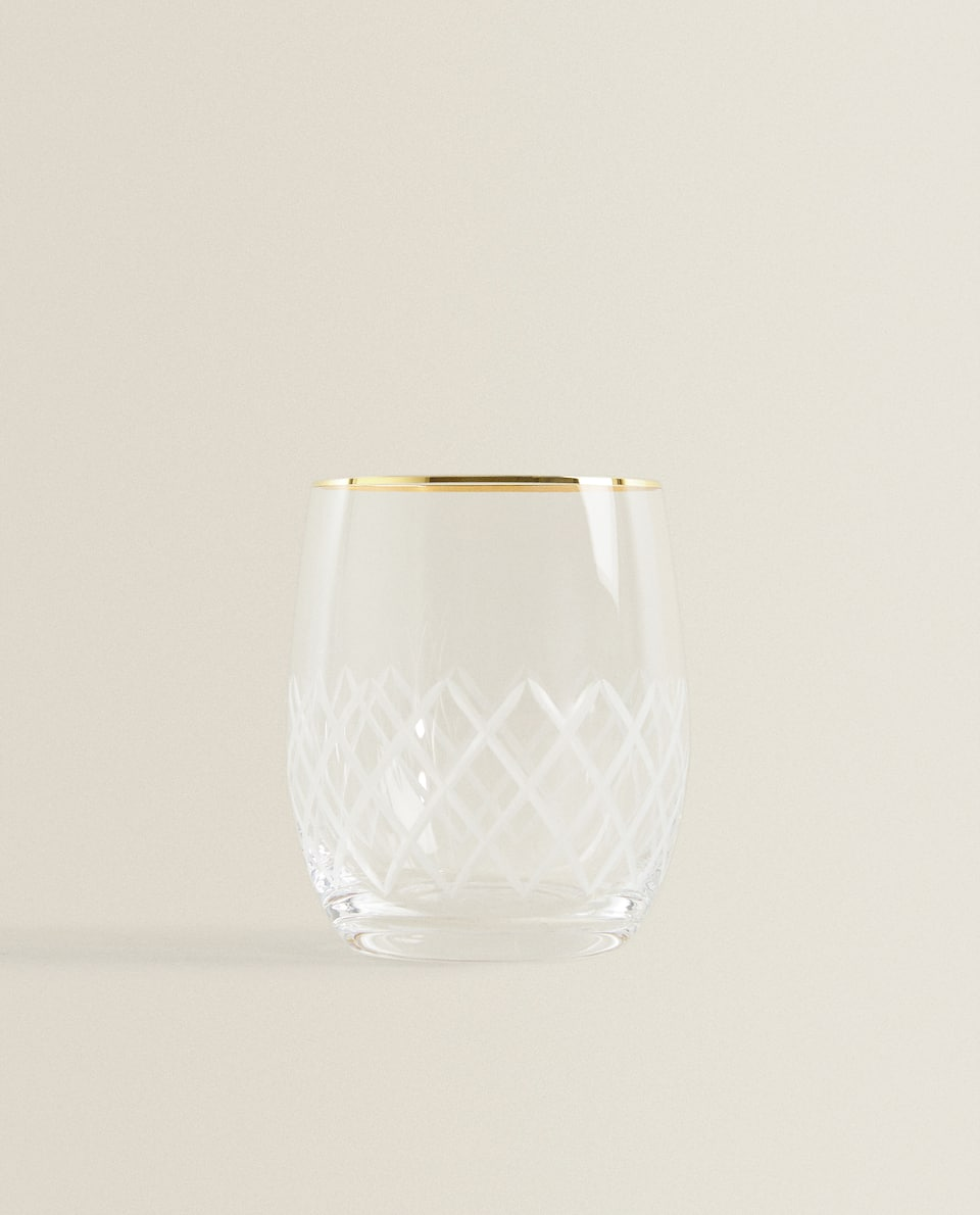 ENGRAVED TUMBLER WITH GOLD RIM