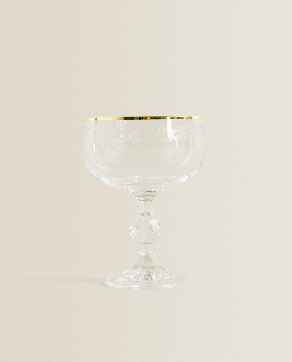 CRYSTALLINE ICE-CREAM CUP WITH GOLD RIM