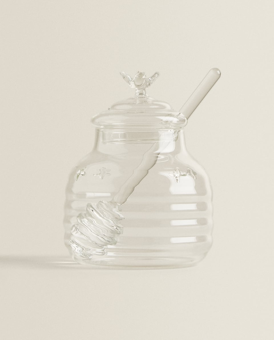BUMBLE BEE BOROSILICATE GLASS HONEY JAR