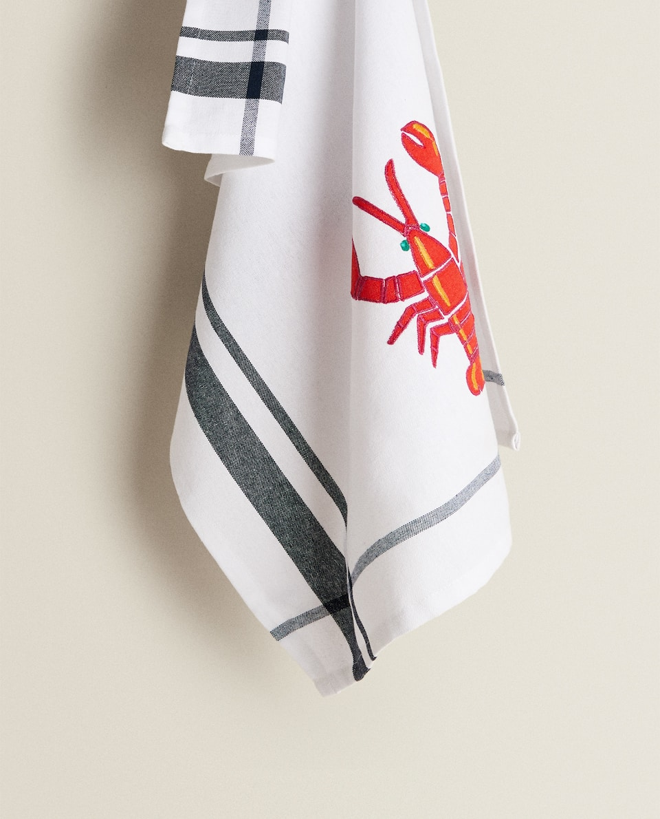 TEA TOWEL WITH EMBROIDERED LOBSTER