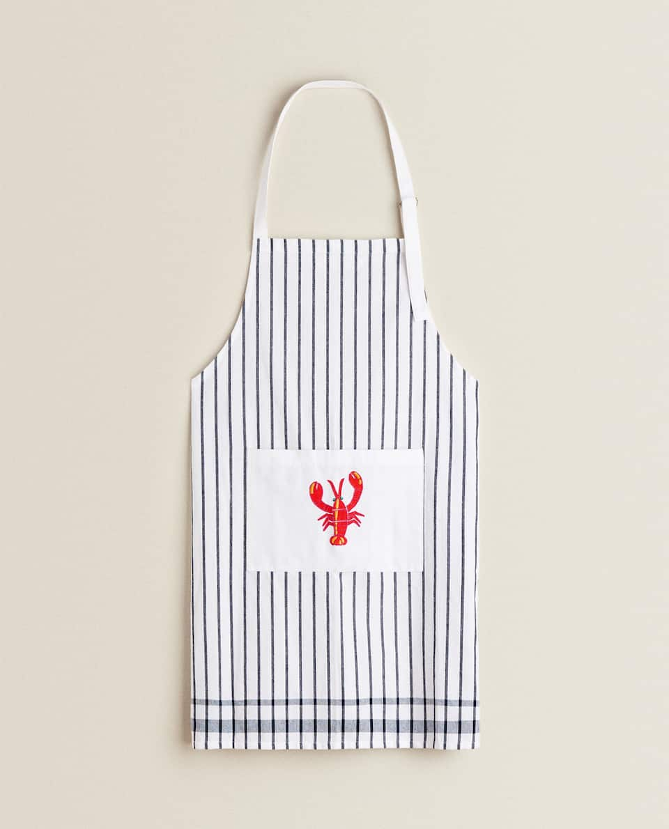 APRON WITH EMBROIDERED LOBSTER