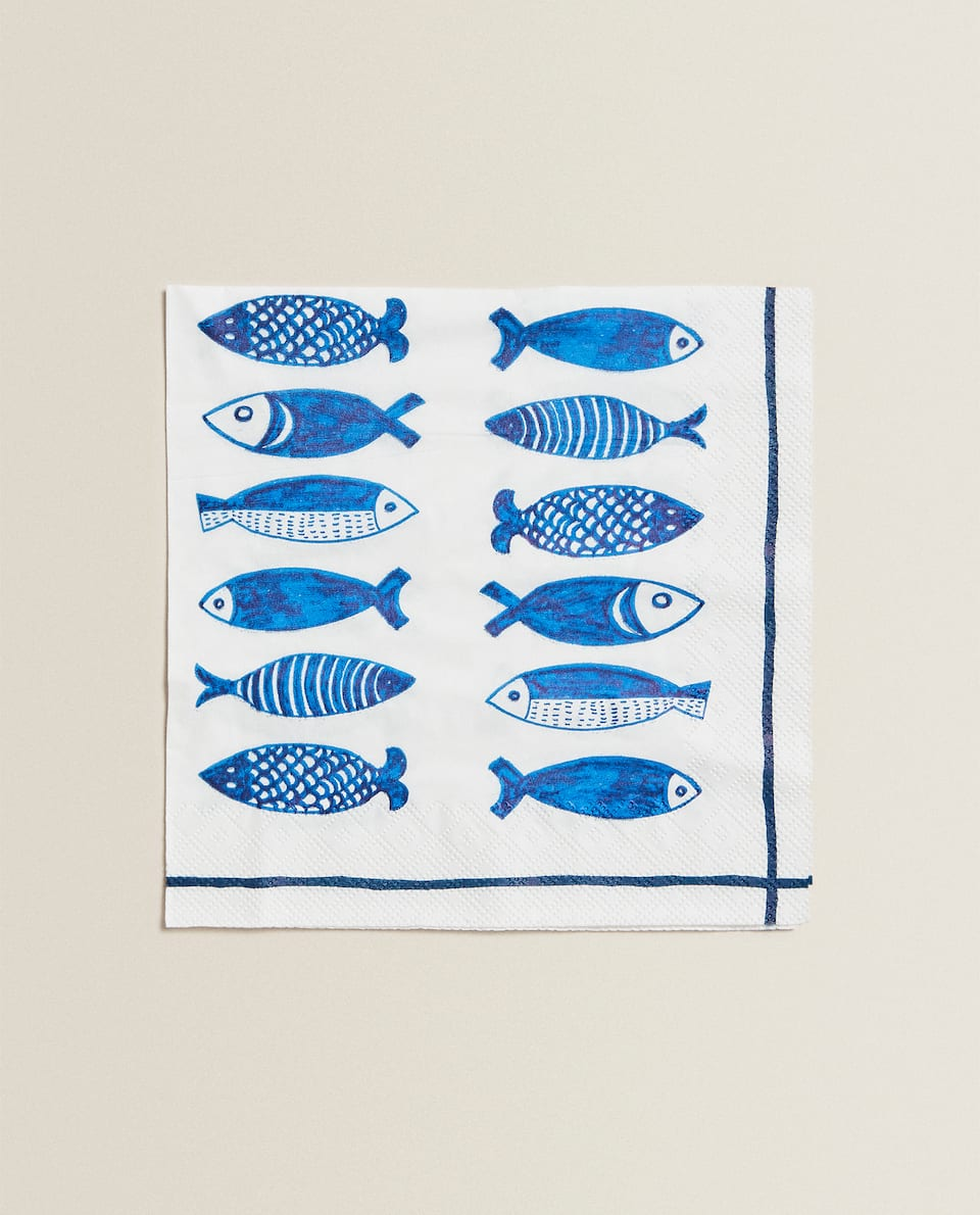 SERVIETTE DE TABLE IMPRIMÉ POISSONS (LOT DE 20)