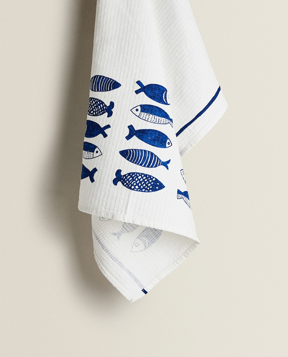 FISH PRINT TEA TOWEL