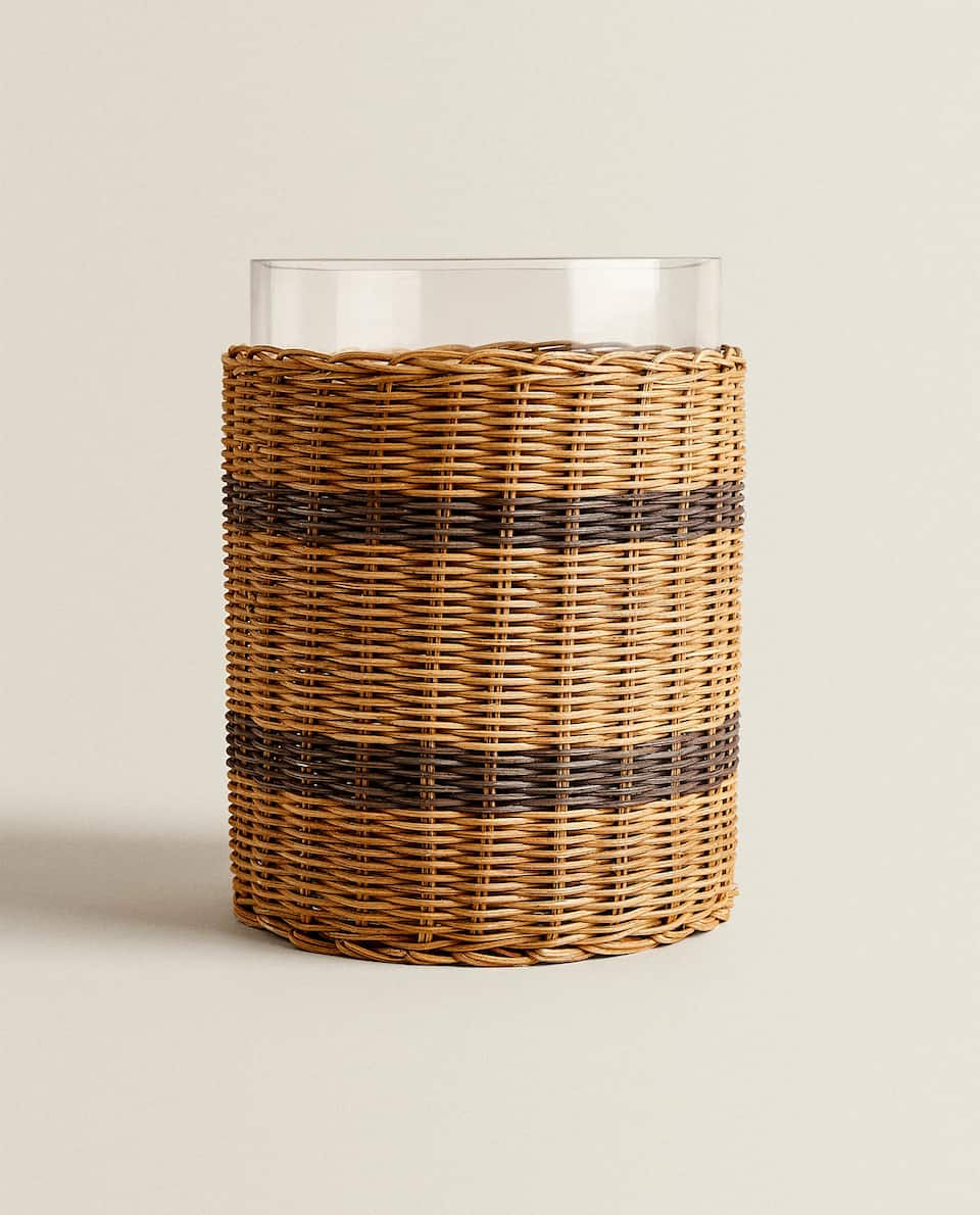 GLASS AND WICKER ICE BUCKET