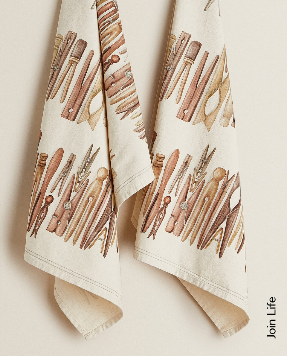 TEA TOWEL WITH CLOTHES PEG PRINT (PACK OF 2)