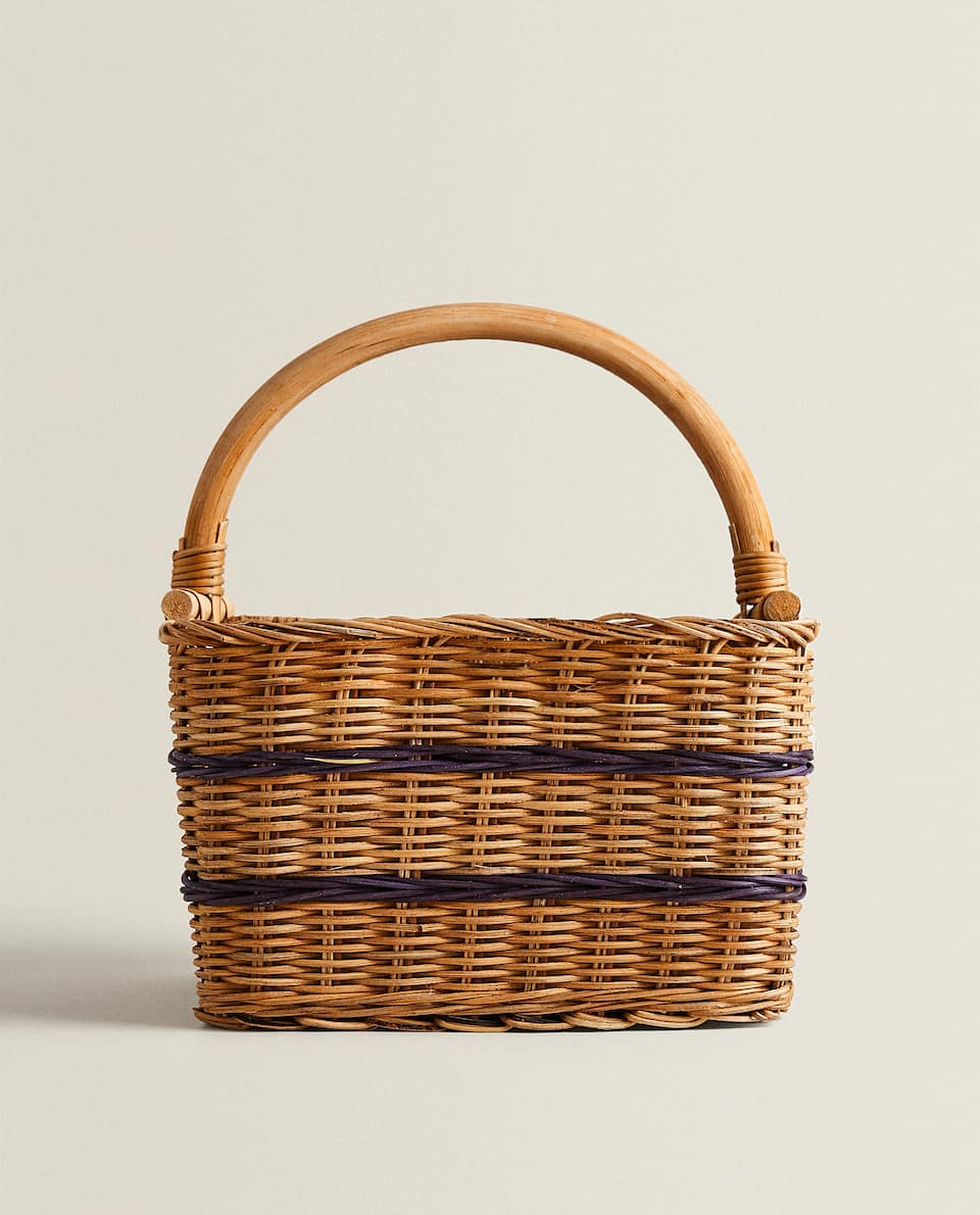 RATTAN AND WOOD BOTTLE BASKET