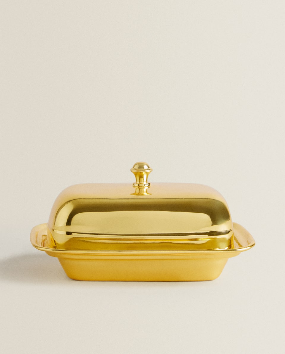 GOLD METAL BUTTER DISH
