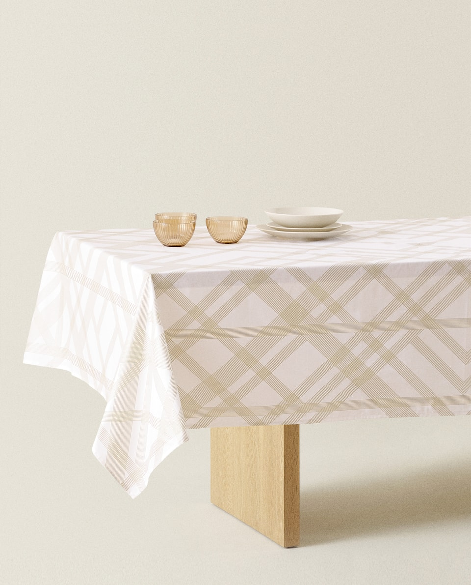 COTTON TABLECLOTH WITH GEOMETRIC SHAPES