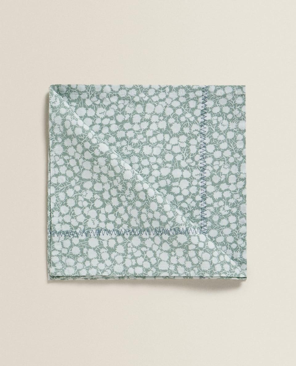 Placemats and Napkins Set of 2 Cotton Blue Floral