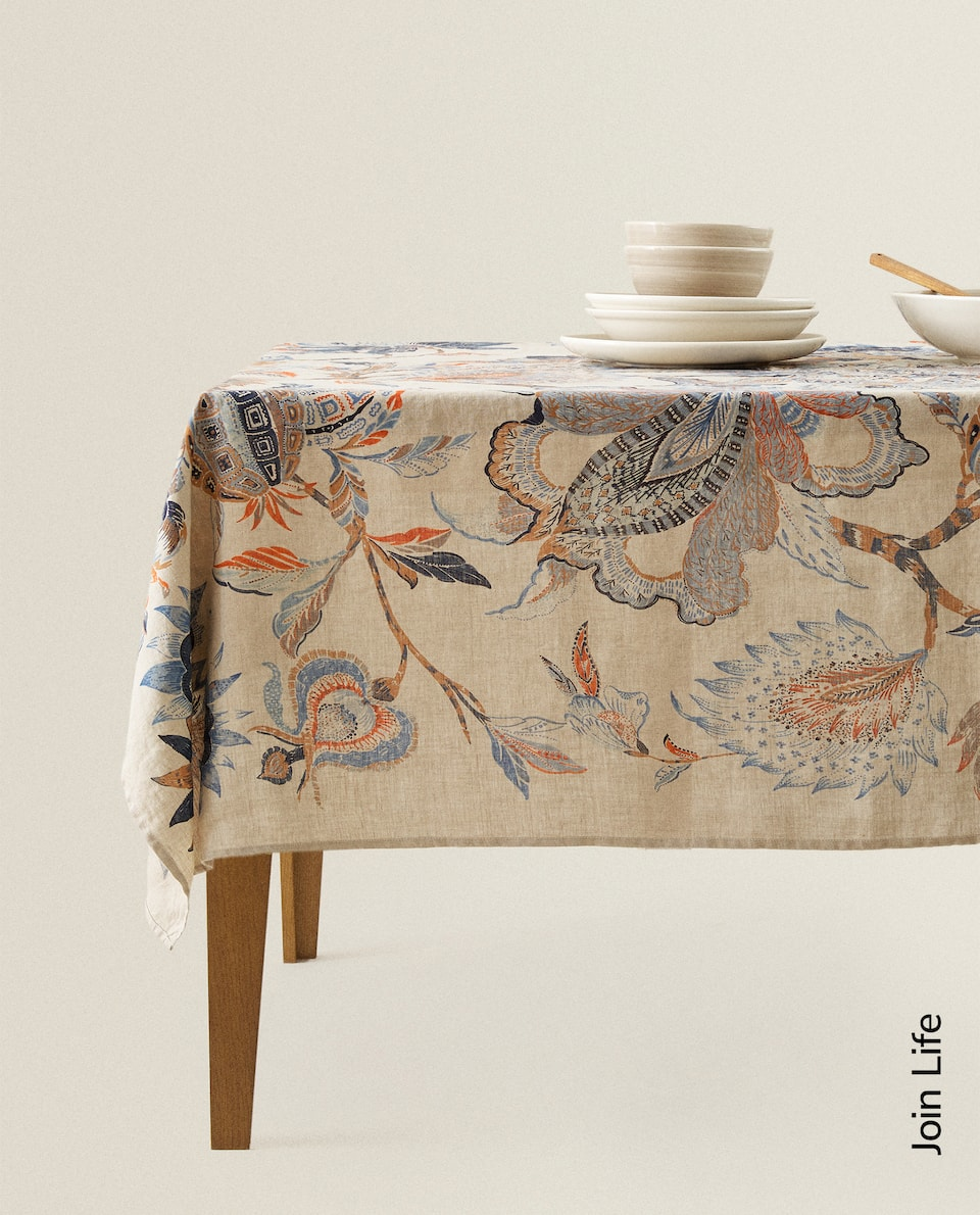 FLORAL PRINT LINEN TABLECLOTH