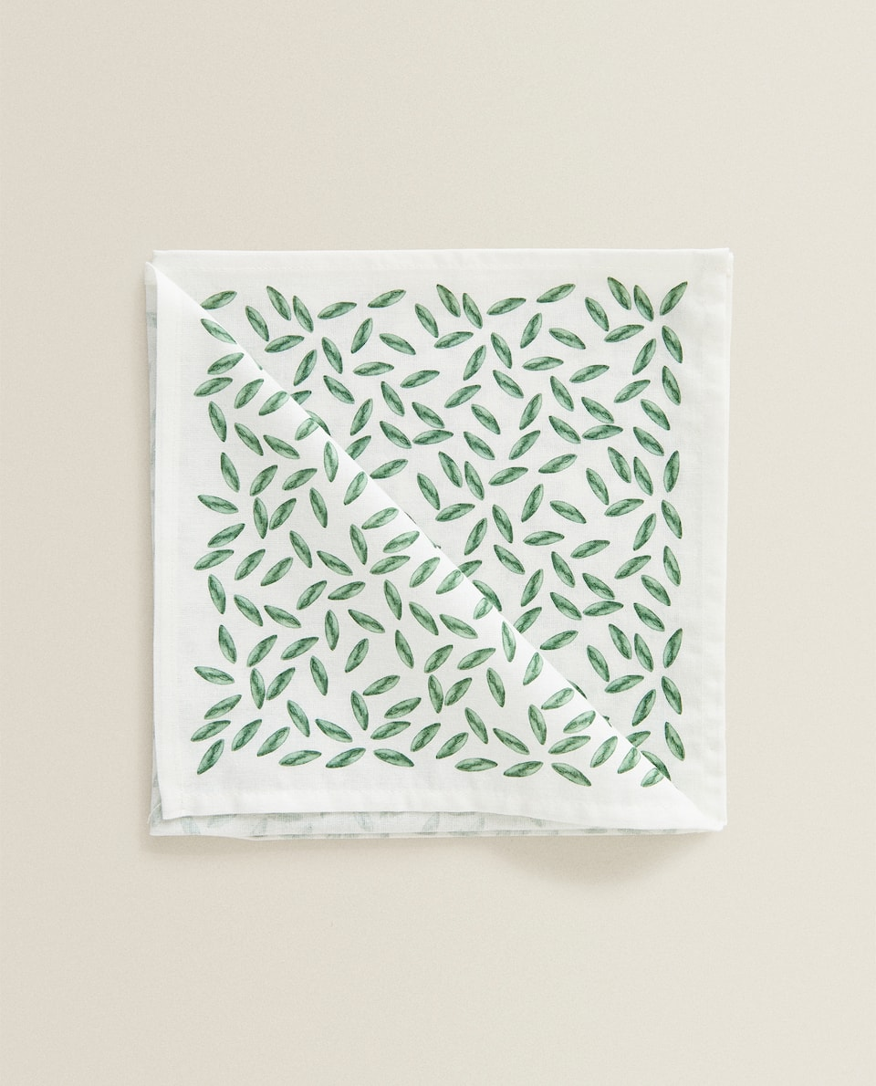 SERVIETTE DE TABLE IMPRIMÉ FEUILLES (LOT DE 2)