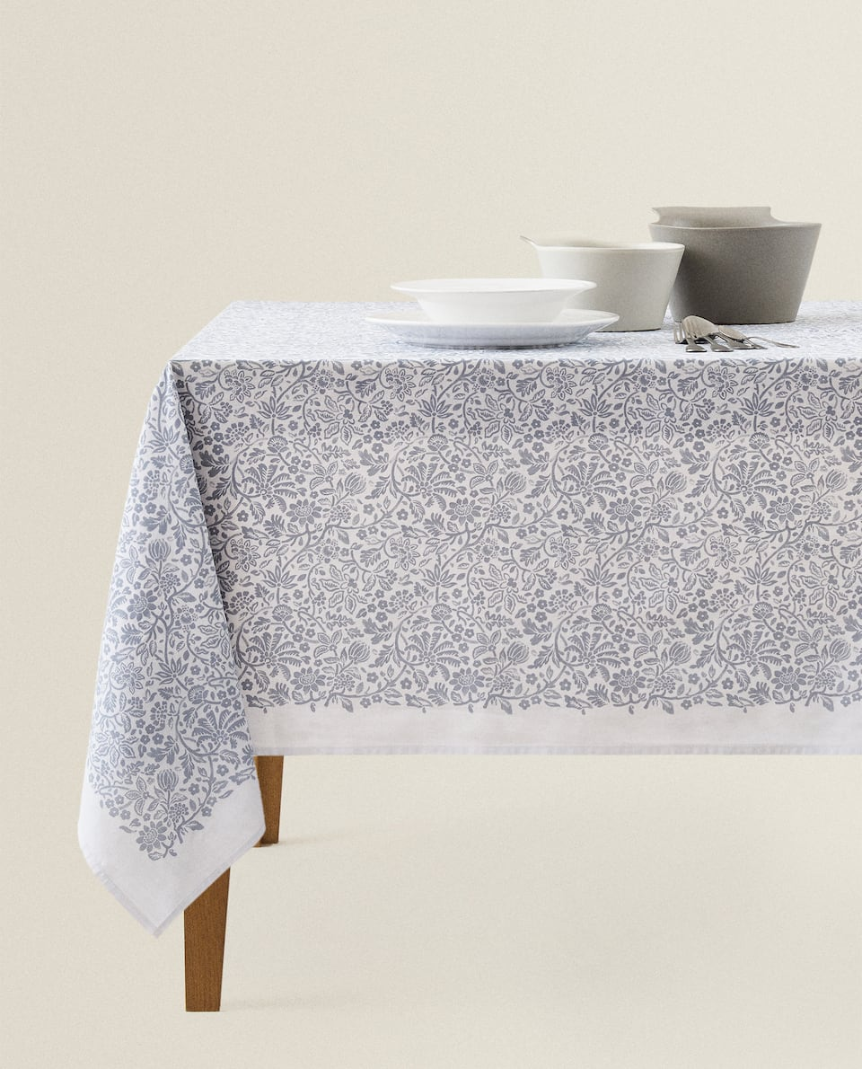 BRANCH PRINT COTTON TABLECLOTH