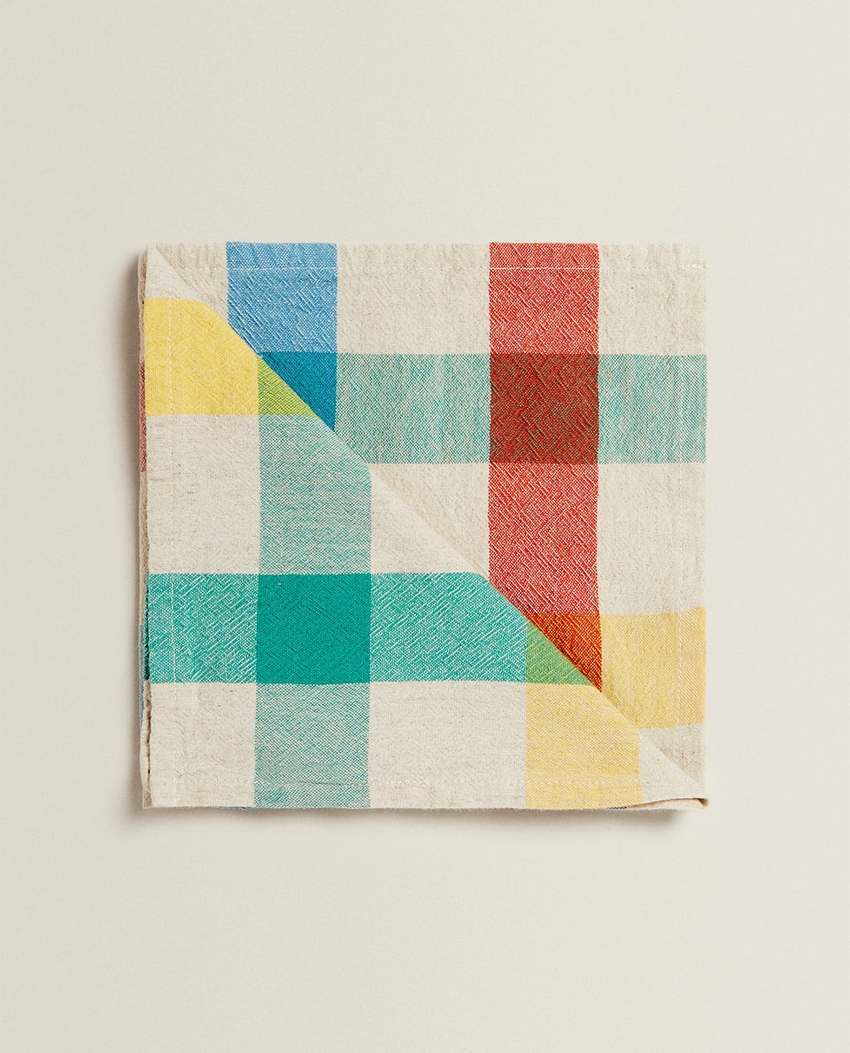 NAPKINS WITH WIDE COLOURED STRIPES (PACK OF 2)