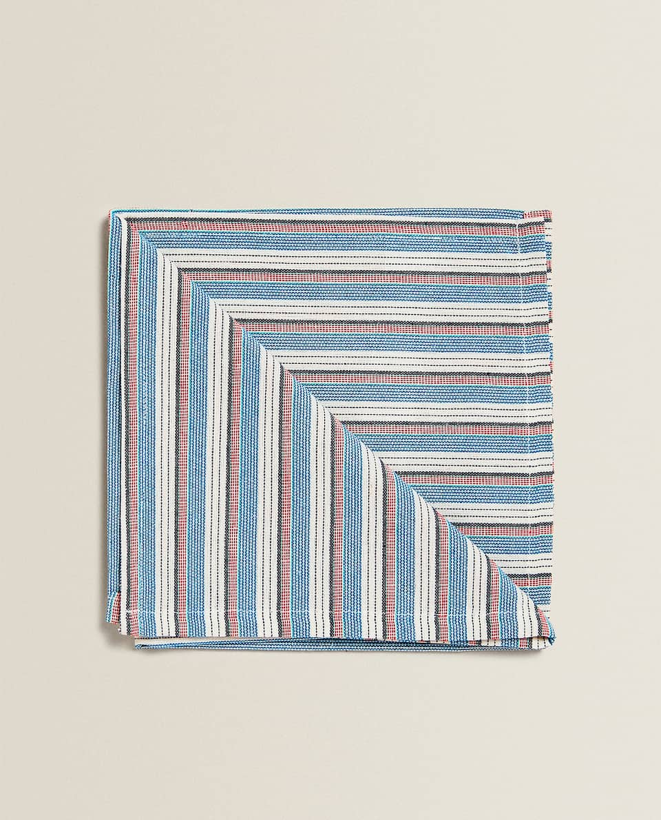 SERVIETTES DE TABLE RAYURES MULTIPLES (LOT DE 2)