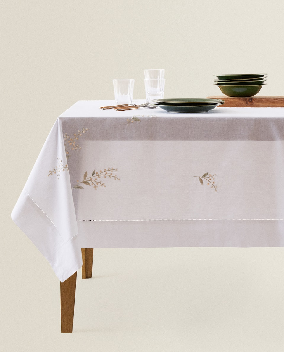 MIMOSA EMBROIDERY TABLECLOTH
