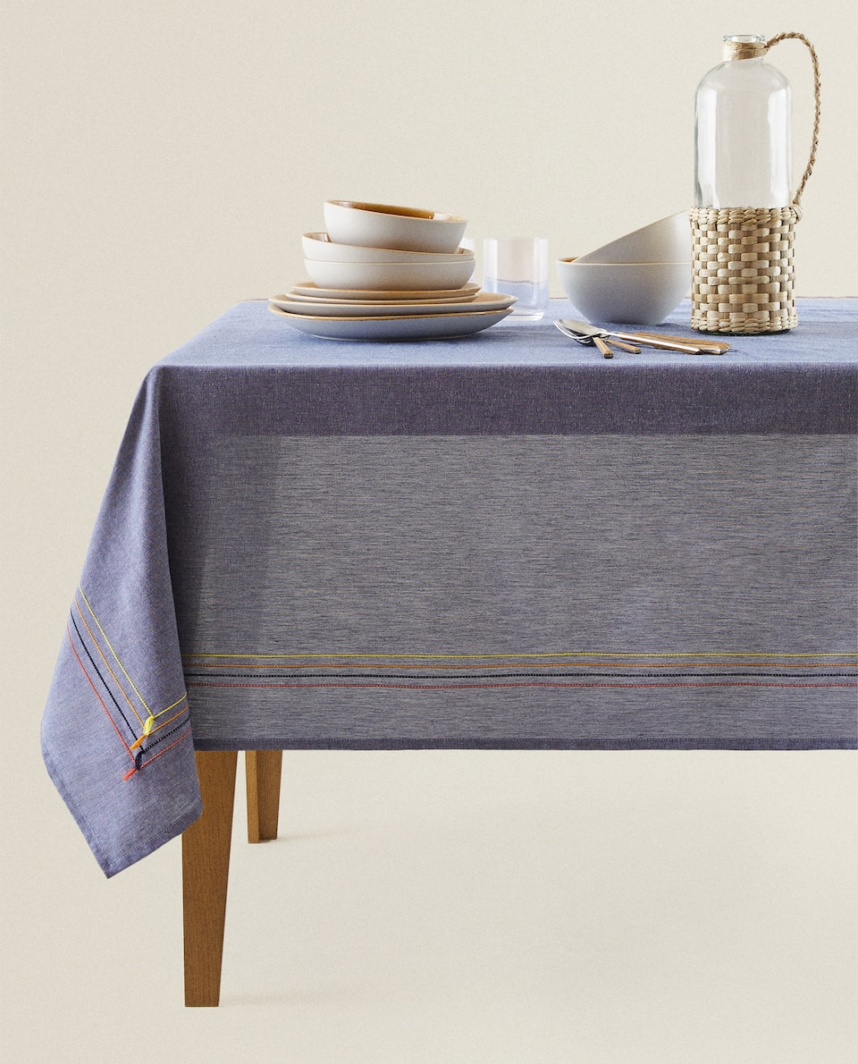 COTTON TABLECLOTH WITH TASSEL TRIMS