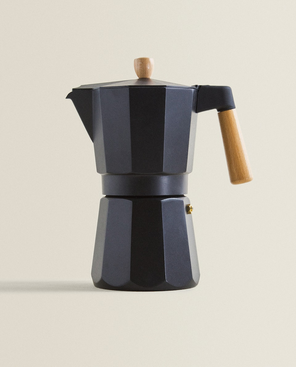 ALUMINIUM AND WOOD COFFEE POT (9 CUPS)