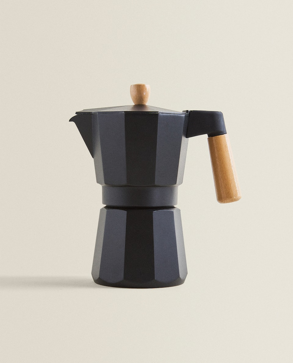 ALUMINIUM AND WOOD COFFEE POT (6 CUPS)