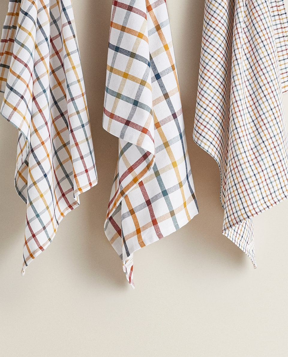 MULTICOLOURED CHECKED TEA TOWEL (PACK OF 3)