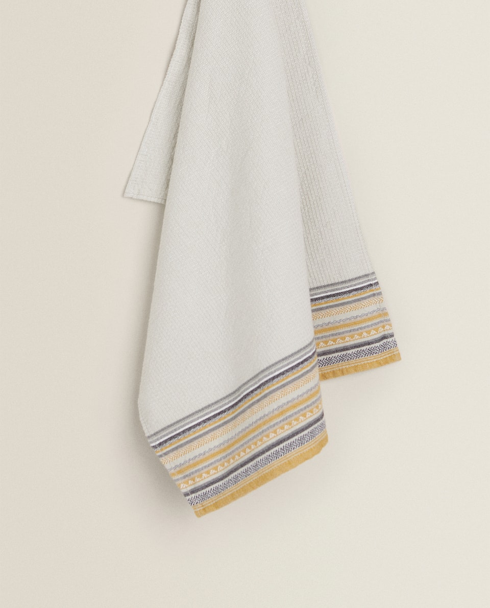 STRIPED BORDER TEA TOWEL