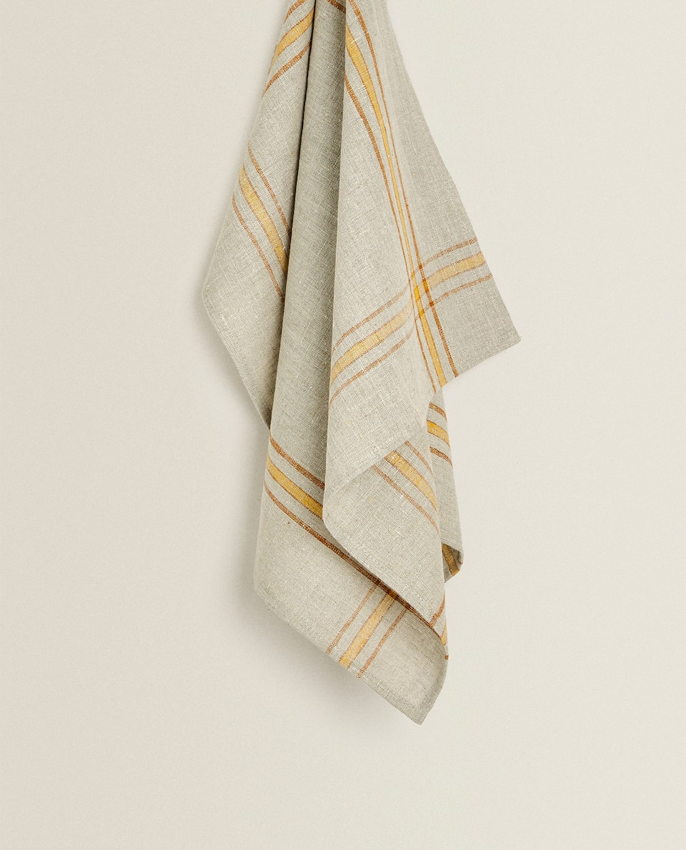 LINEN TEA TOWEL WITH MUSTARD YELLOW STRIPES