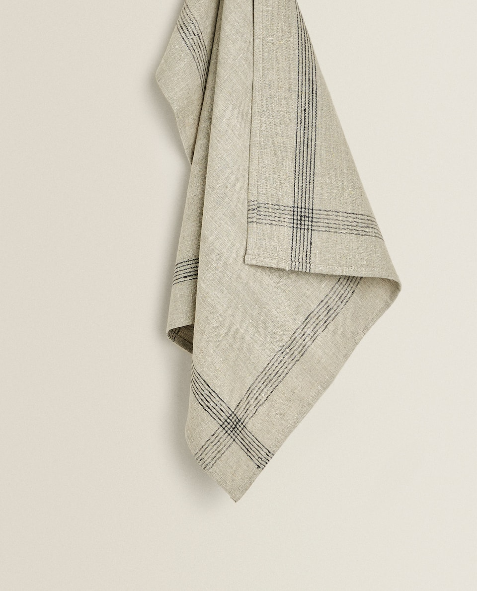 LINEN TEA TOWEL WITH BORDER