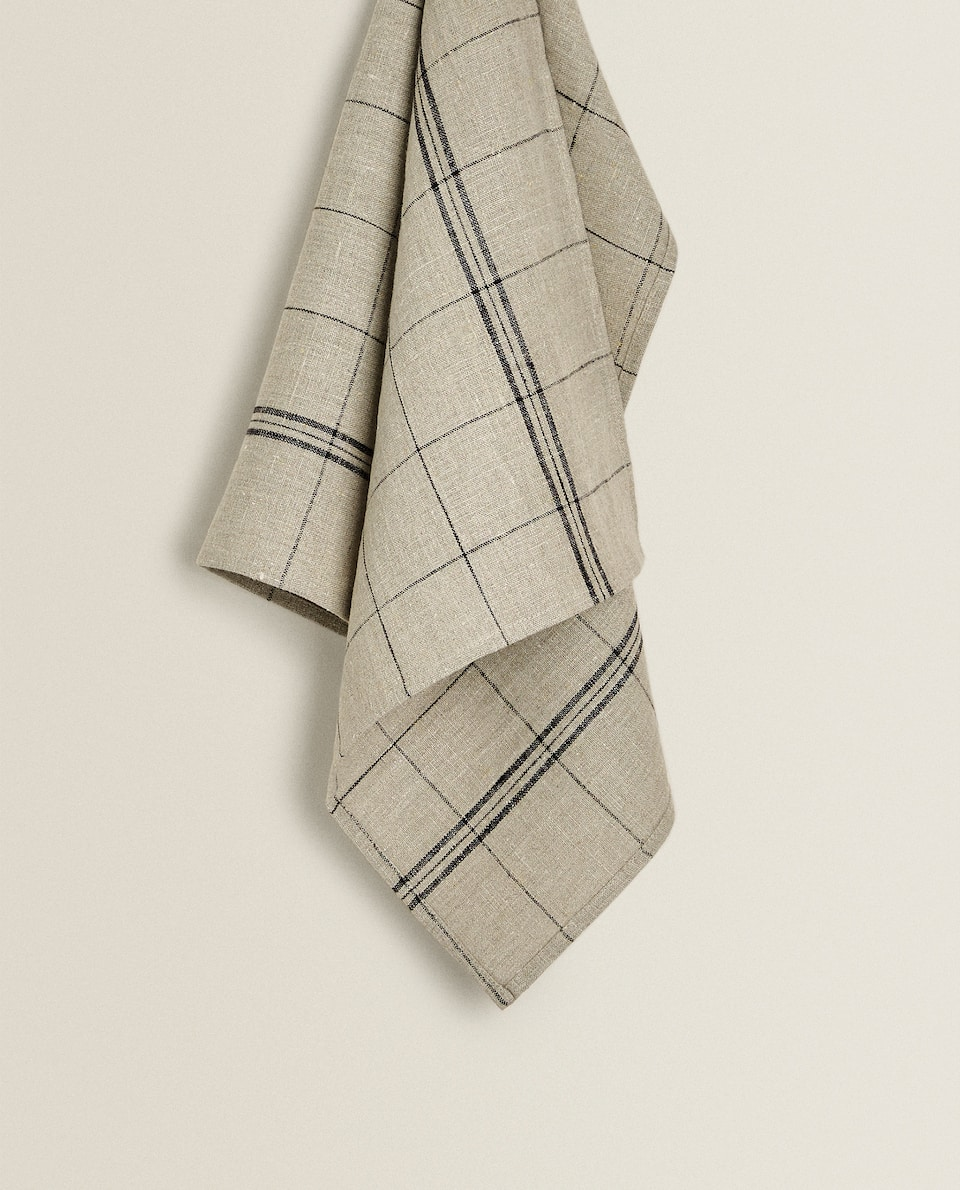 CHECK LINEN TEA TOWEL