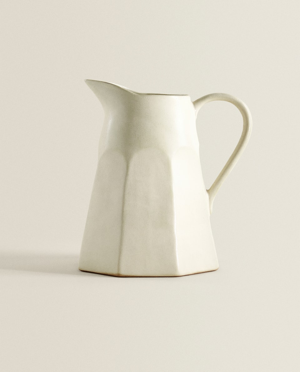 FACETED TERRACOTTA PITCHER