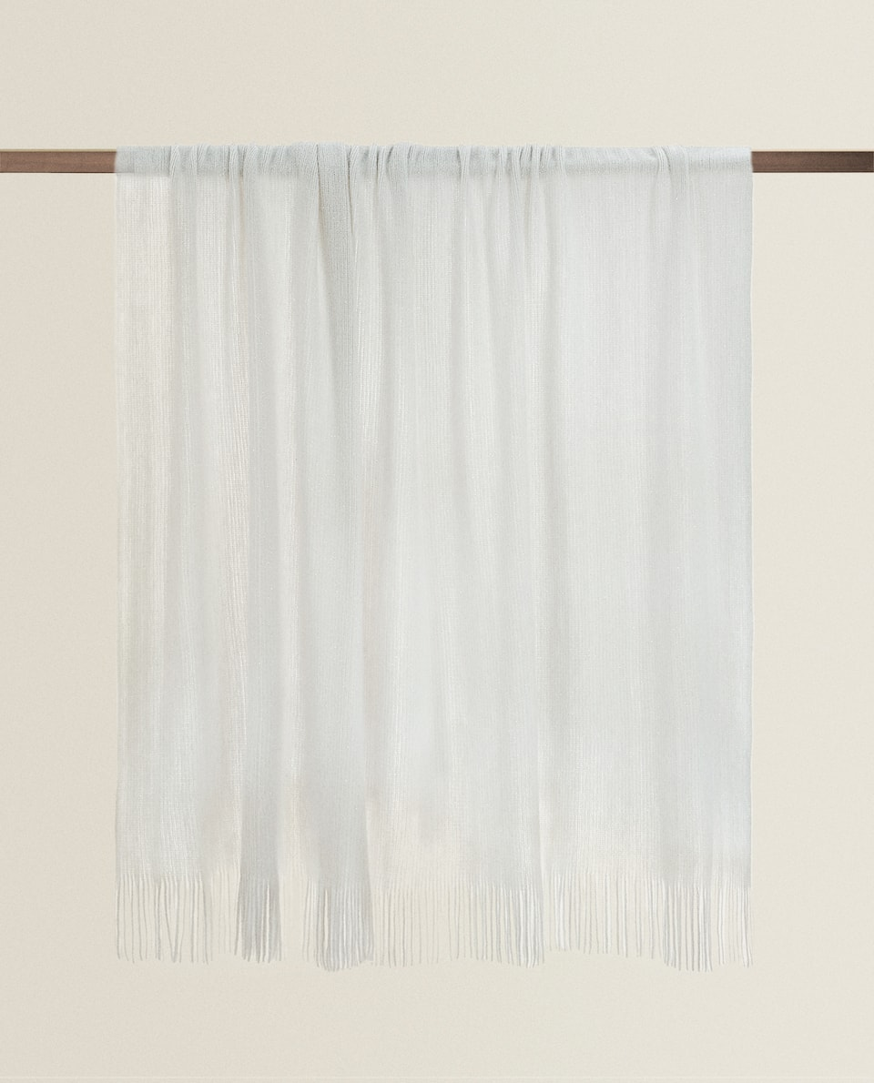 METALLIC THREAD BLANKET WITH FRINGING
