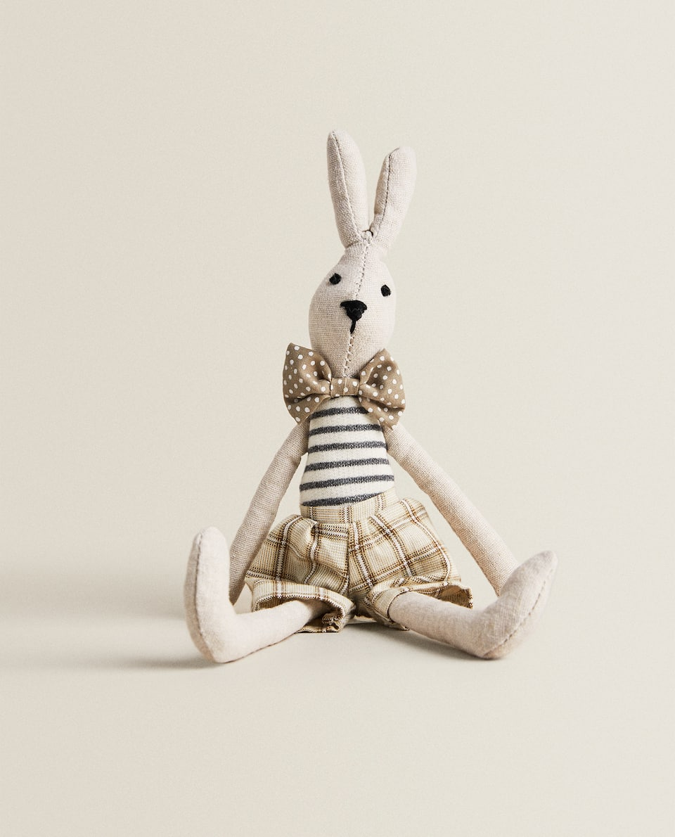 SOFT TOY BUNNY WITH BOW TIE